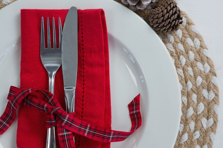 napkin ring: Overhead view of pine cone with leaf and fork, butter knife, napkin in a plate