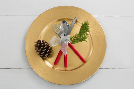 Overhead view of pine cone with cutlery tied up with a ribbon in a plate