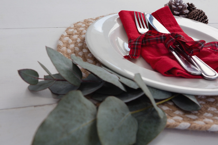 Close-up of pine cone with leaf and fork, butter knife, napkin in a plate