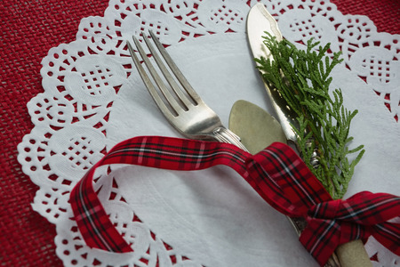 Close-up of cutlery with fern tied up with ribbon on a placemat