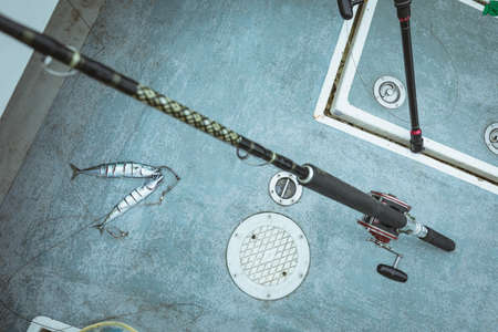 Overhead of fillet of fish and fishing rod on boat