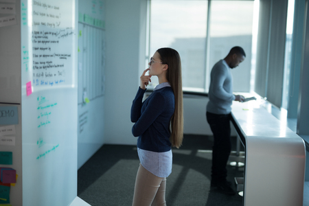 Female executive looking at whiteboard in office