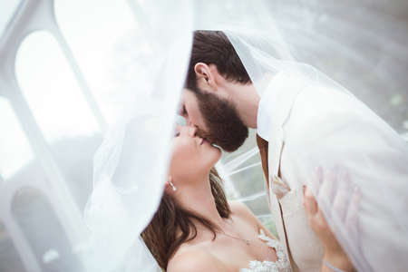 Close-up of bride and groom kissing under the veil
