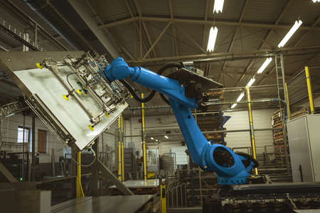 View of robotic machine in factory