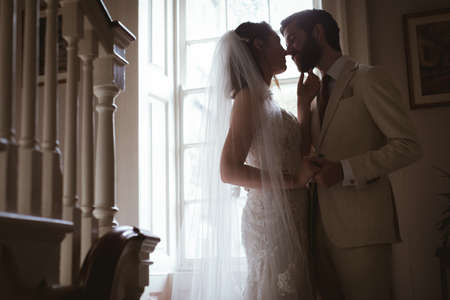 Bride and groom kissing on the staircase at home