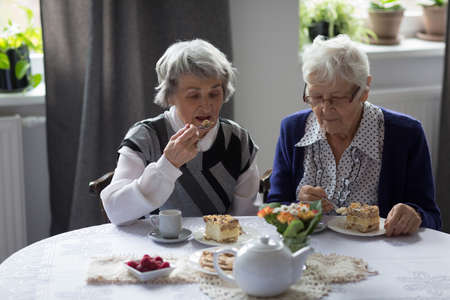 Senior friends having breakfast together at home LANG_EVOIMAGES
