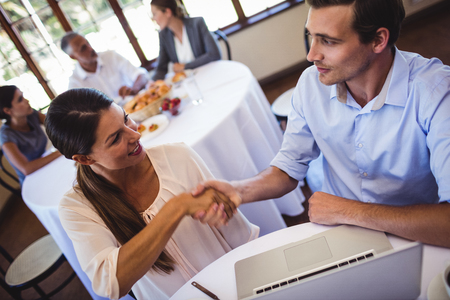 Smiling business people shaking hands in restaurant