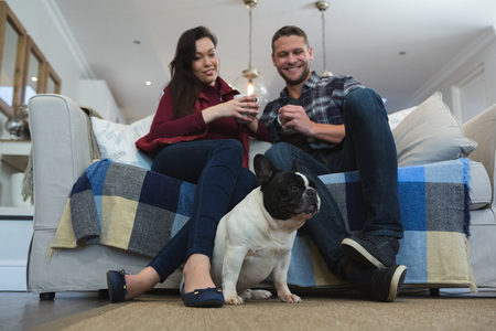 Couple having coffee with their pet dog in living room at home Stock Photo