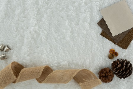Overhead of textile and pine cone on white background