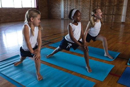 Side view of schoolkids doing yoga on a yoga mat in school Stock fotó