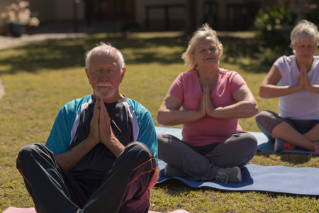 Front view of active senior people performing yoga on yoga mat in the park Imagens