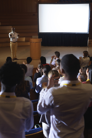 High view of matured African-American businessman standing and giving presentation in auditorium Stok Fotoğraf - 122297389