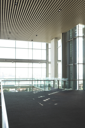 Empty commercial modern business office balcony with big windows showing view Stock Photo