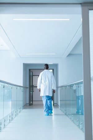 Rear view of African-american male doctor walking in the corridor at hospital