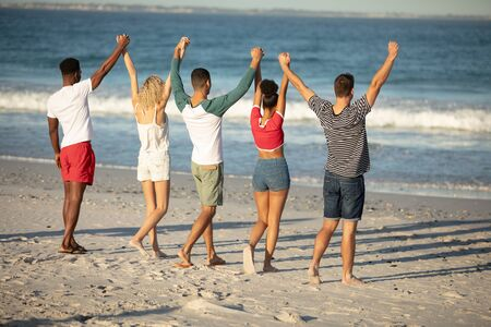 Rear view of diverse friends standing with raised hands on the beach