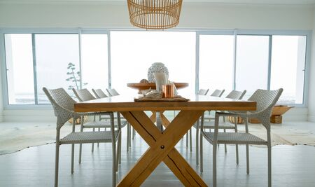 Modern dining room with dining table at home