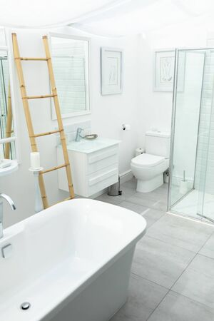 Side view of white modern bathroom