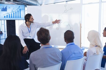 Front view of caucasian Businessman giving presentation on flip chart in business seminar at conference meeting. International diverse corporate business partnership concept