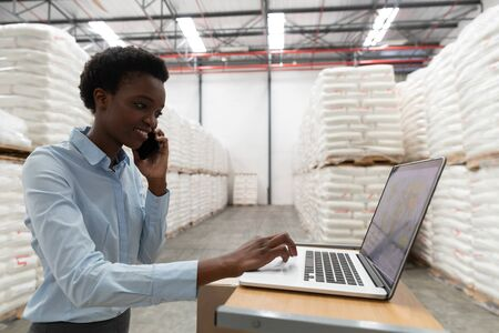 Side view of female manager talking on mobile phone while using laptop at desk in warehouse. This is a freight transportation and distribution warehouse. Industrial and industrial workers concept