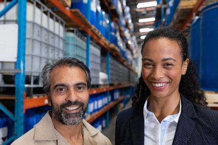 Female manager standing together in warehouse. This is a freight transportation and distribution warehouse. Industrial and industrial workers concept Stok Fotoğraf