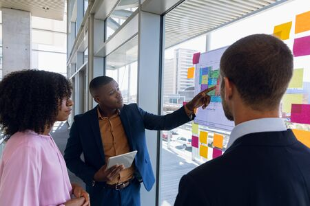 Over shoulder view of a young African American businessman pointing to a chart and talking during a meeting with a young African American businesswoman and a Caucasian businessman standing together in a modern office. Modern corporate start up new business concept with entrepreneur working hard