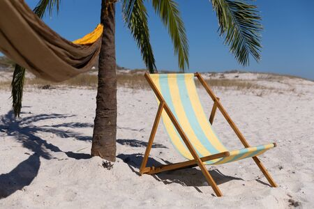 Magnificent view of a beach with a deck chair, a palm tree and a hammock tied to it
