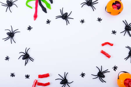Composition of halloween spiders and sweets with copy space on white background. halloween tradition and celebration concept.