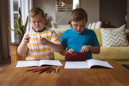 Two caucasian boys drawing in their books sitting in the living room at home. childhood and hobby concept