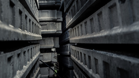 ambiance: Passage inside a maze of concrete. Scary or sad ambiance. Stock Photo