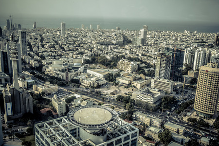 Aerial view of the City of Tel Aviv Israel. Tel Aviv Museum and the Cameri Theatre in the center of the image. The Mediterranean Sea in the background. Editoriali