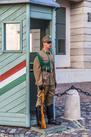 Budapest, Hungary - September 19, 2015: Ceremonial guard at the Presidential Palace. They guard the entrance of the Presidents office in the Sandor Palace, Budapest, Hungary