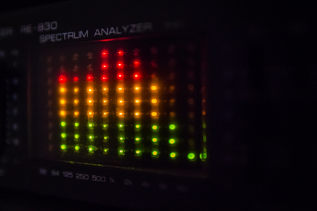 graphic equalizer: Graphic equalizer bars on an audio system - Close Up Selective Focus
