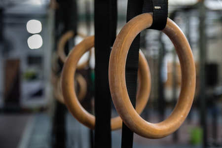 Gymnastics Rings in the gym - Close Up Selective Focus