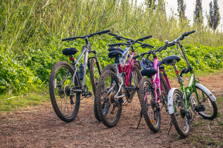 dirt road recreation: Several bicycles parked on a dirt road