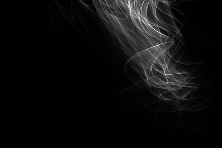 strobe light: Light painted glowing abstract black and white curved lines on a black background