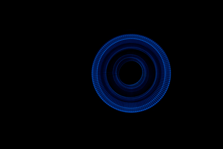 long exposure: Light painted glowing abstract blue curved lines on a black background