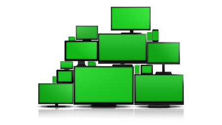 green screen: Many different types of screens. TVs, computer monitors, smartphones and tablets. They laid on each other in a pile isolated on a white background. They are all with a green screen. Stock Photo