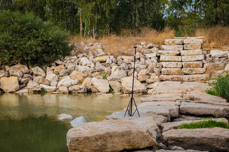 nahal: 360 degrees video cameras system in filmed production in the field at Nahal Soreq, Israel.
