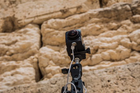western wall: 360 degrees video cameras system in filmed production at the Western Wall in the old city of Jerusalem Israel. Stock Photo