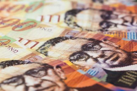sheqel: Stack of Israeli money bills of 100 shekel. Stock Photo