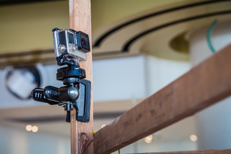 GoPro action camera on an pole. Stock Photo