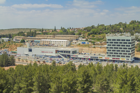 Ariel, Israel - April 24, 2017: Shops and boutiques in open mall in ariel city - owned by Rami Levy Chain Stores Hashikma Marketing 2006 Ltd. Ariel city located inside the west bank of Israel.