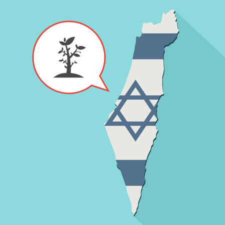 Animation of a long shadow Israel map with its flag and a comic balloon with a plant icon