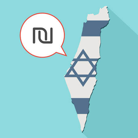 Animation of a long shadow Israel map with its flag and a comic balloon with a israeli new shekel sign Stock Photo