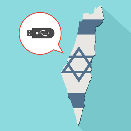 Animation of a long shadow Israel map with its flag and a comic balloon with a usb flash drive Stock Photo