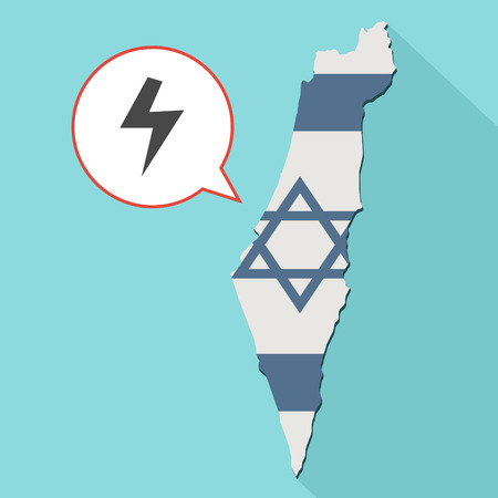 Animation of a long shadow Israel map with its flag and a comic balloon with electricity sign Stock Photo