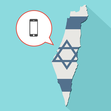 Animation of a long shadow Israel map with its flag and a comic balloon with smartphone Stock Photo