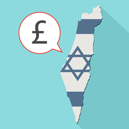 Animation of a long shadow Israel map with its flag and a comic balloon with a pound sterling sign