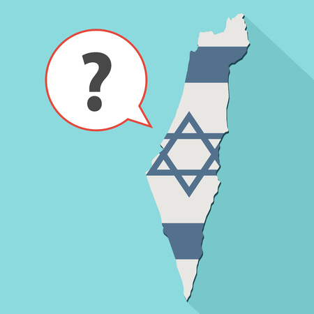 Animation of a long shadow Israel map with its flag and a comic balloon with a question sign