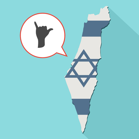 Animation of a long shadow Israel map with its flag and a comic balloon with a Shaka hand sign